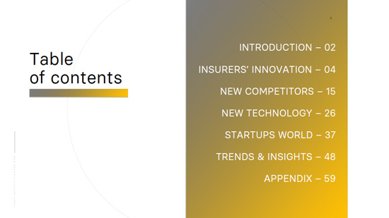 Insurtech Innovation Snapshot 2019 2020 - Table of contents